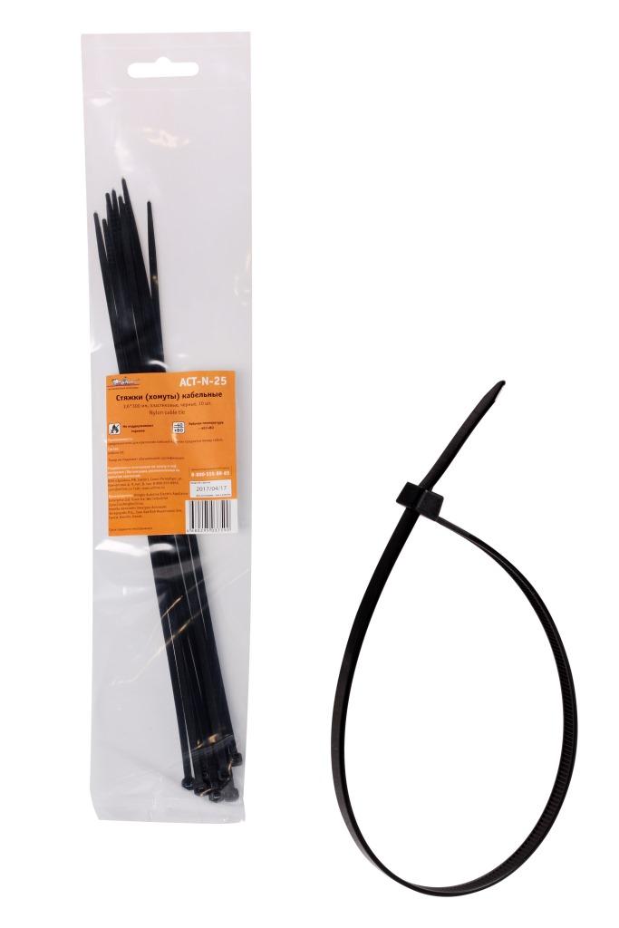 Стяжки (хомуты) кабельные 3,6x300 мм, пластиковые, черные, 10 шт. AIRLINE ACTN25