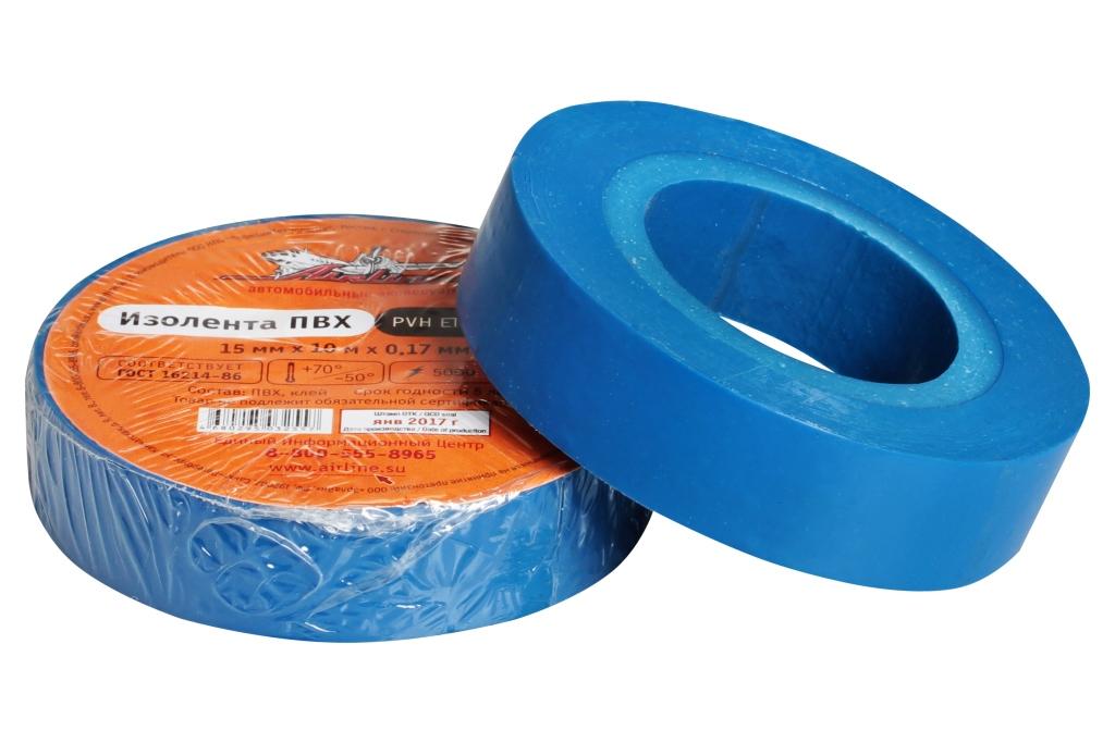 Изолента пвх, синяя, 15 ммx10 м AIRLINE AITP03