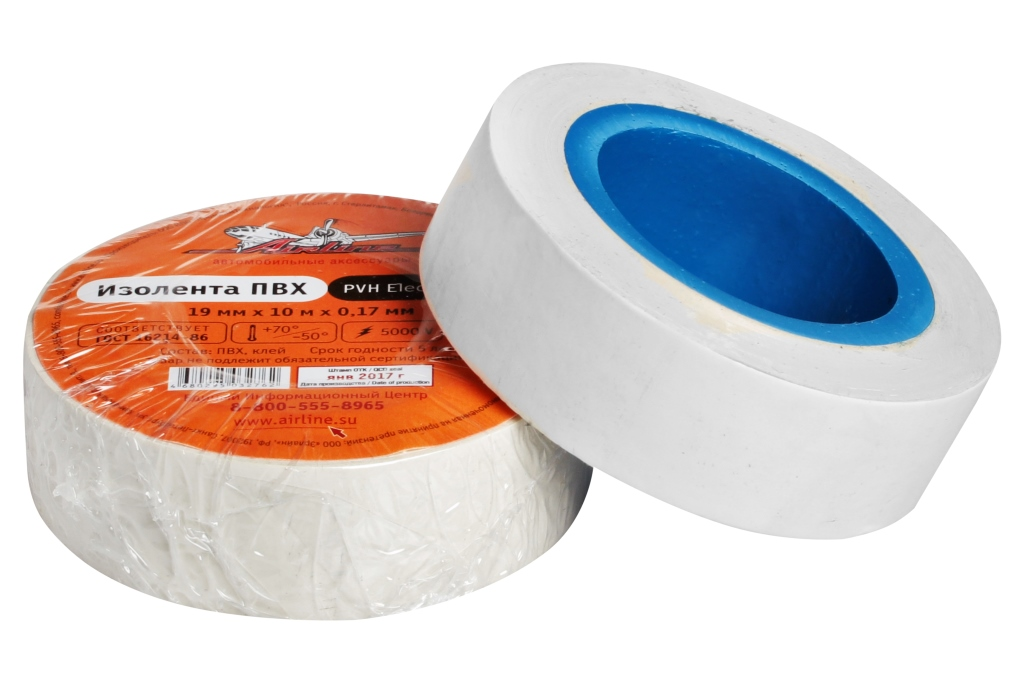 Изолента пвх, белая, 19 ммx10 м AIRLINE AITP14