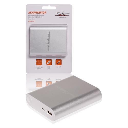 Аккумулятор внешний универсальный 6000мач usb 5v 2.1a AIRLINE APB0602
