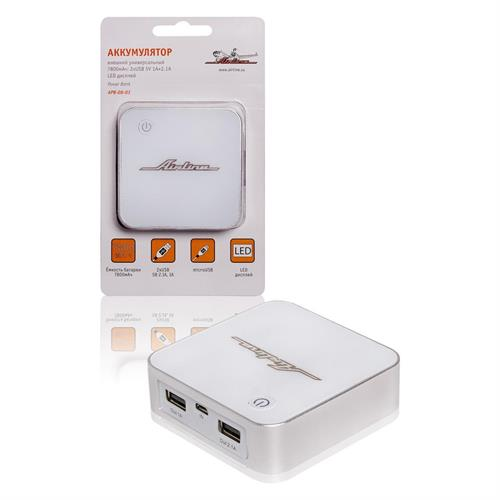 Аккумулятор внешний универсальный 7800мач: 2хusb 5v 1a+2.1a led дисплей AIRLINE APB0803