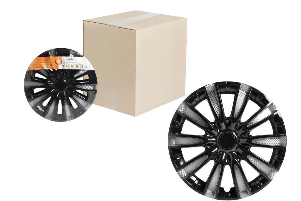 Колпаки колесные 14'' ''Торнадо Т'', серебристый/черный, карбон, компл. 2 шт. AIRLINE AWCC1410