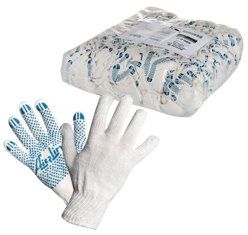 Перчатки ХБ с ПВХ покрытиемmin10 AIRLINE AWGC02