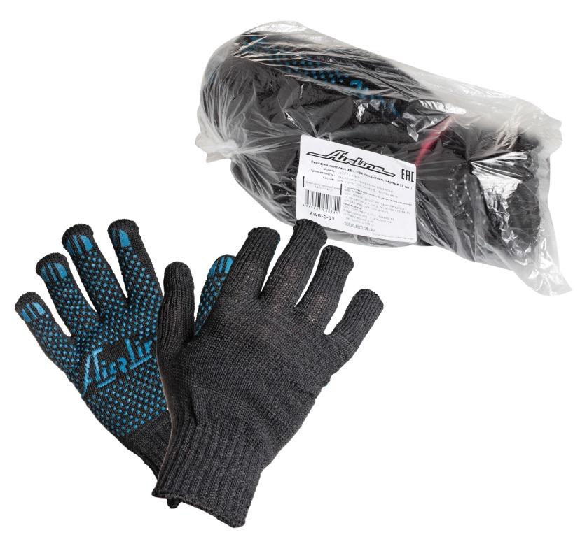 Перчатки ХБ с ПВХ покрытием AIRLINE AWGC03
