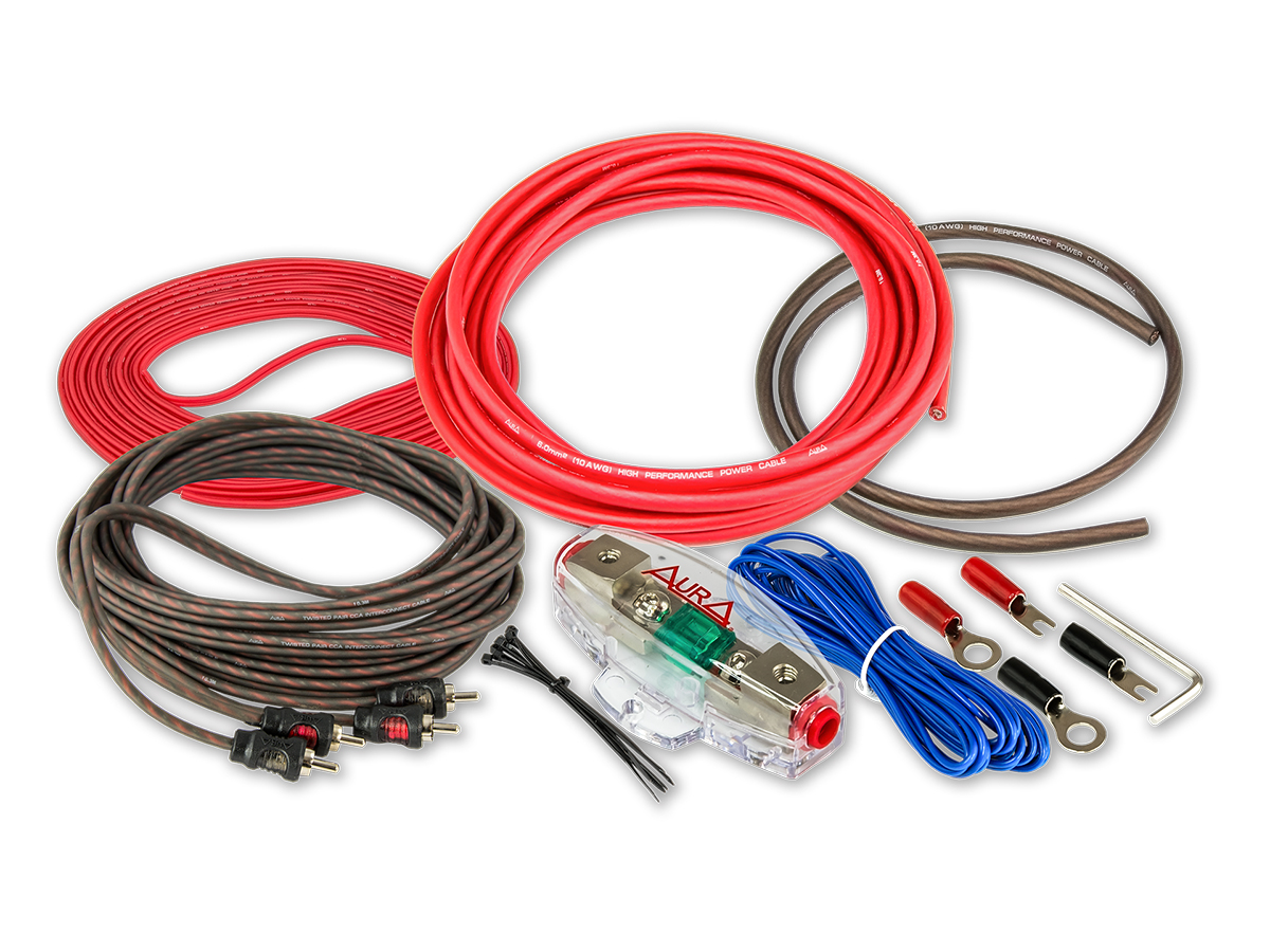Комплект проводовдля подключения 2-х канального усилителя aura 10awg amp-0210 Aura AMP0210