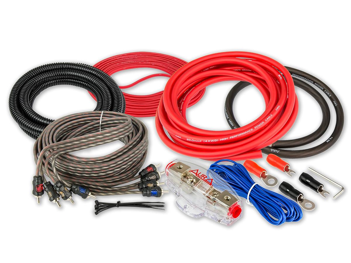 Комплект проводовдля подключения 4-х канального усилителя aura 4awg amp-0404 Aura AMP0404