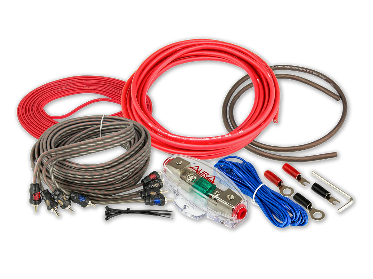 Комплект проводовдля подключения 4-х канального усилителя aura 10awg amp-0410 Aura AMP0410