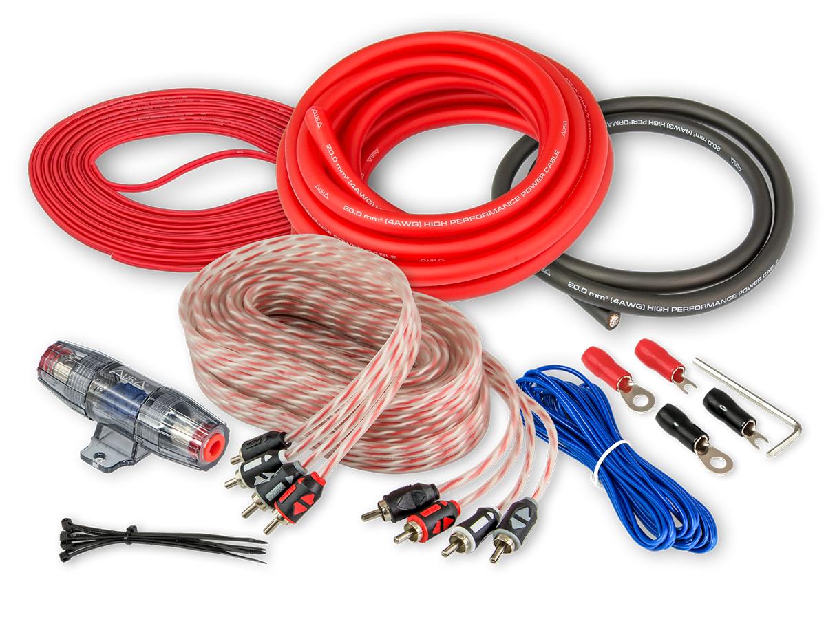 Комплект проводовдля подключения 4-х канального усилителя aura 4awg amp-2404 AURA AMP2404