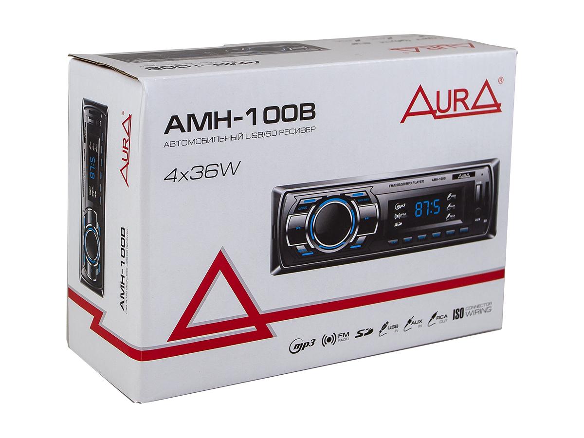 Автомагнитола 1din. aura amh-100b /синяя/usb/sd/fm AURA AMH100B