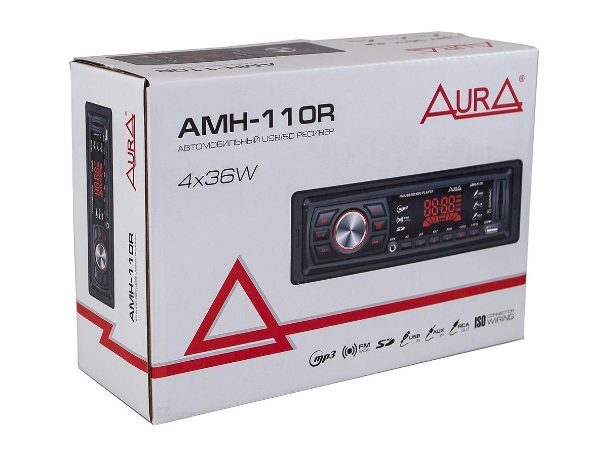 Автомагнитола 1din. aura amh-110r /красная/usb/sd/fm AURA AMH110R