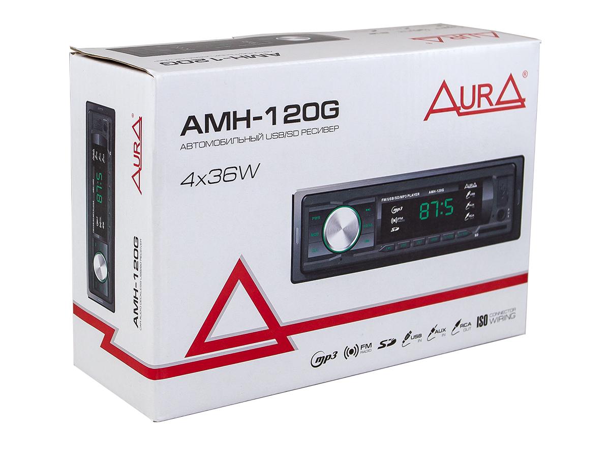 Автомагнитола 1din. aura amh-120g /зелёная/usb/sd/fm AURA AMH120G