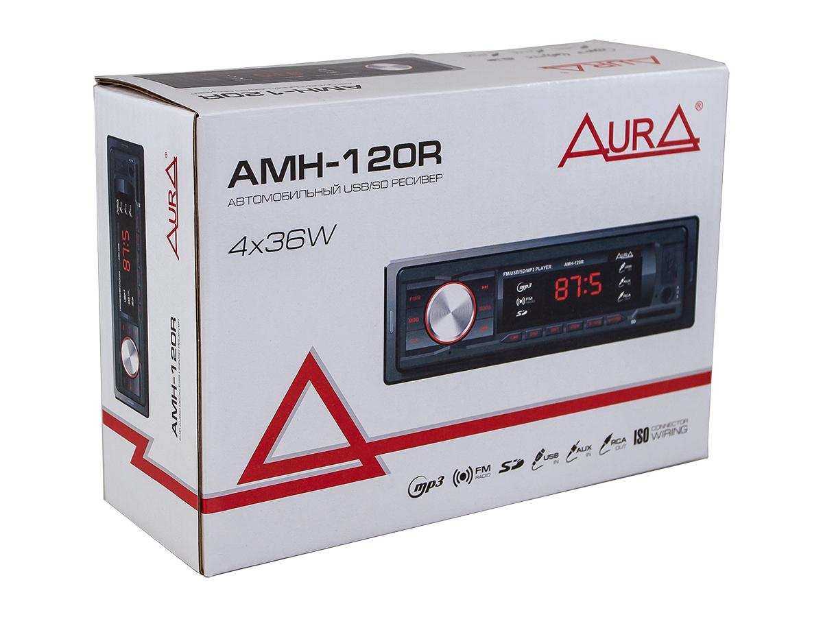 Автомагнитола 1din. aura amh-120r /красная/usb/sd/fm AURA AMH120R