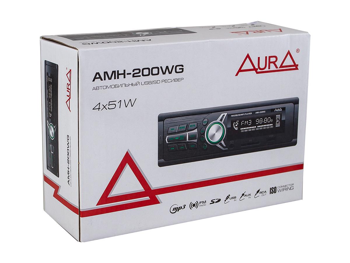 Автомагнитола 1din. aura amh-200wg /зеленая/usb/sd/fm AURA AMH200WG