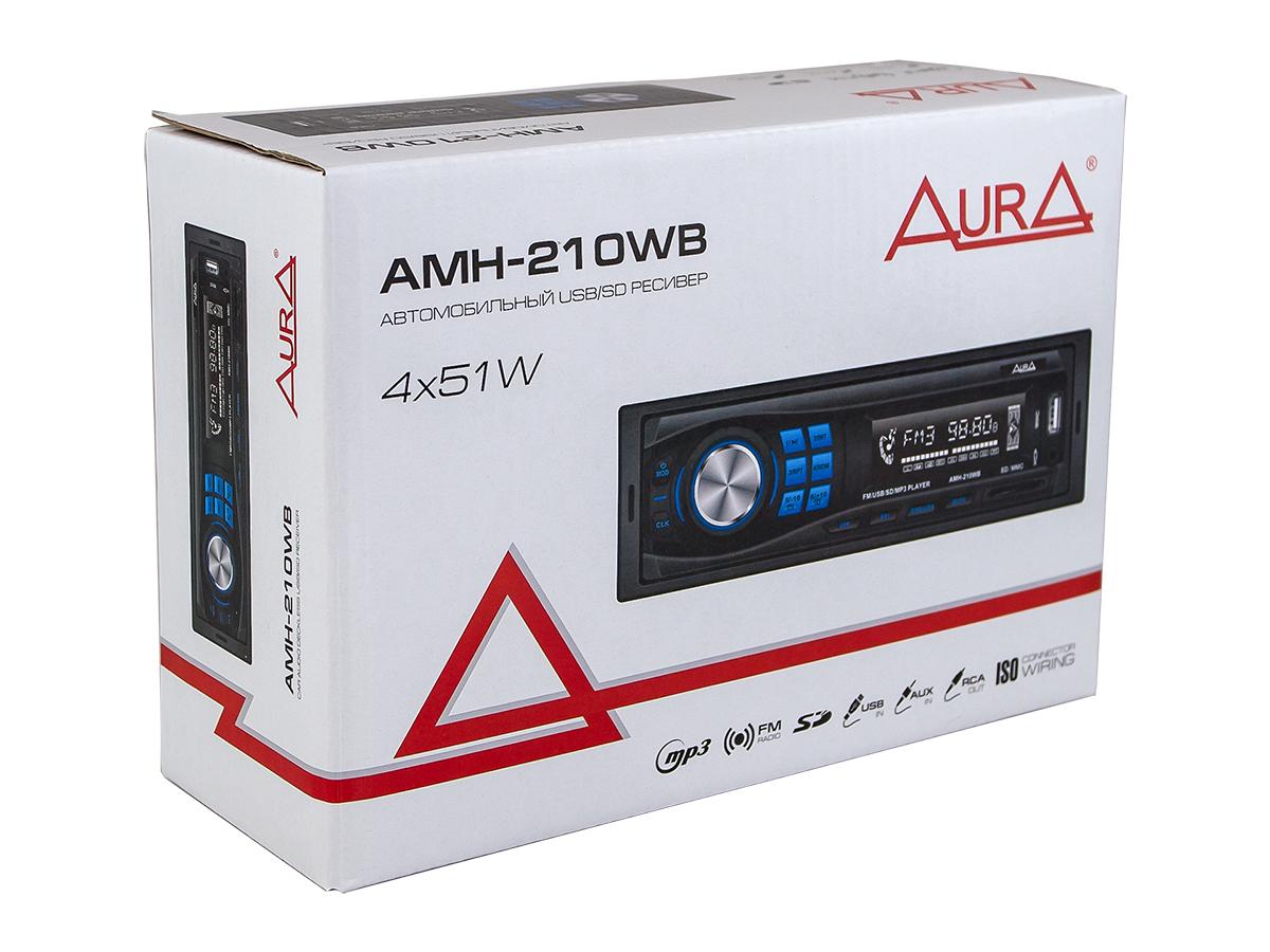 Автомагнитола 1din. aura amh-210wb /синяя/usb/sd/fm AURA AMH210WB