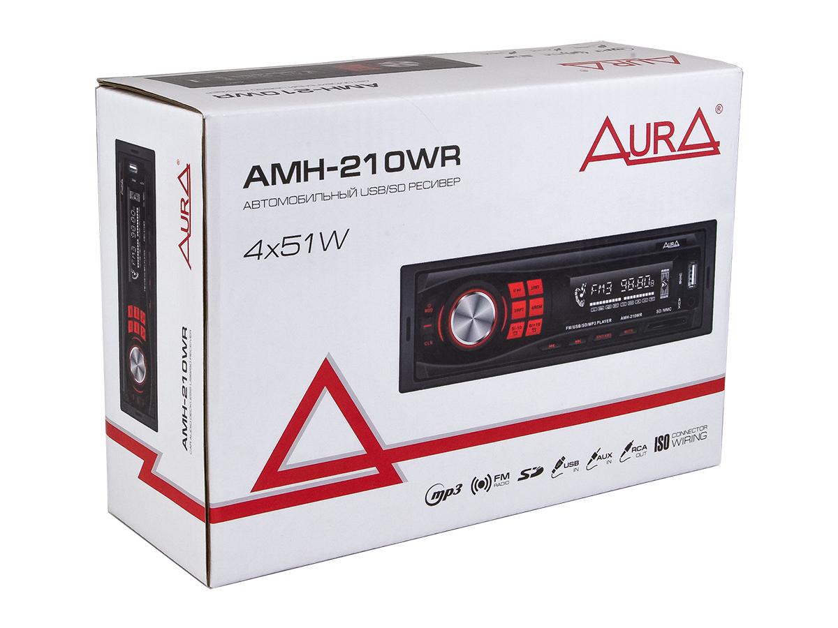 Автомагнитола 1din. aura amh-210wr /красная/usb/sd/fm AURA AMH210WR