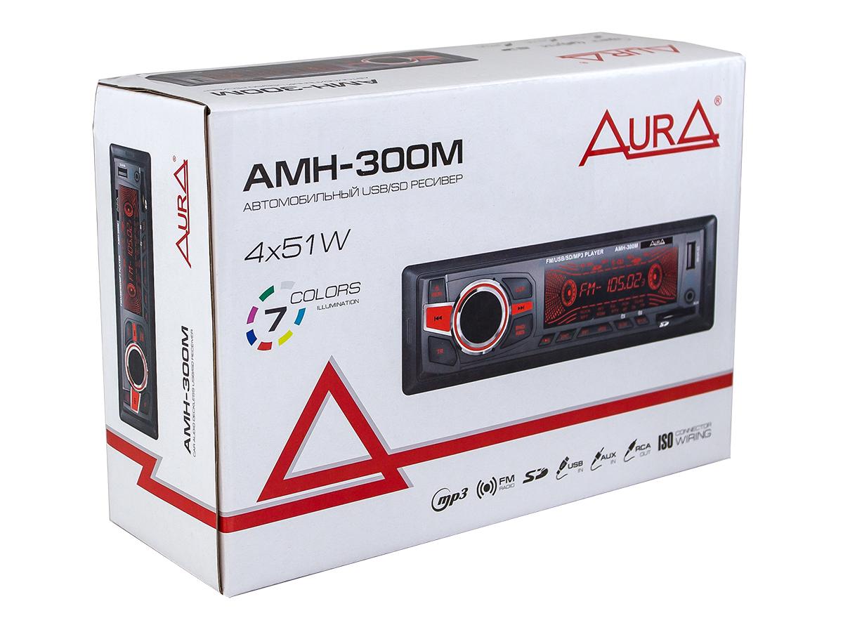 Автомагнитола 1din. aura amh-300m /мультицвет/usb/sd/fm AURA AMH300M
