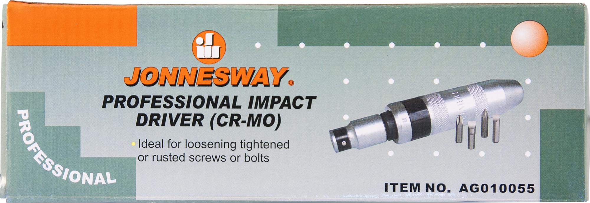 Ударная отвертка SL 8,10 мм PH# 2,3, 5 предметов JONNESWAY AG010055