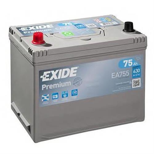 Аккумуляторная батарея 19.5/17.9 прямая полярность 75Ah 630A 272/170/225 EXIDE EA755