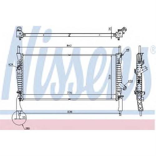 Радиатор FORD TRANSIT 06- 2.2TDCi, 2.4TDCi MT +AC NISSENS 69226