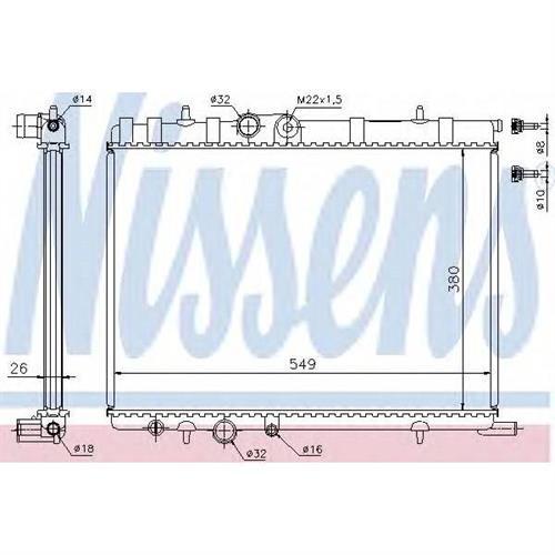 Радиатор CITROEN C4 1.4-2.0, PEUGEOT 206, 307 MT NISSENS 63502