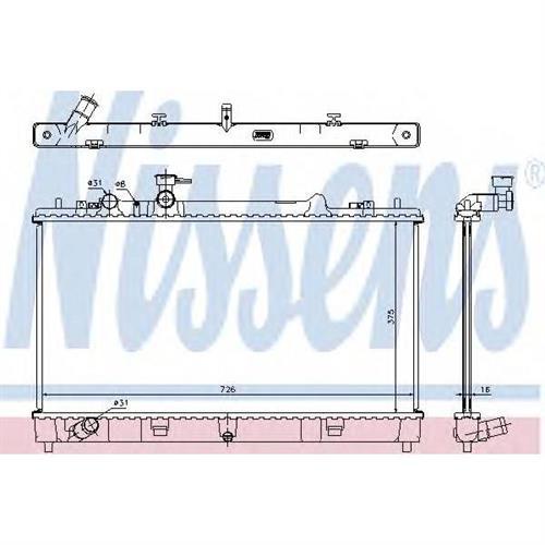 Радиатор MAZDA 6 (GH) 1.6/1.8i MT 6/07- (5мм система) NISSENS 68507