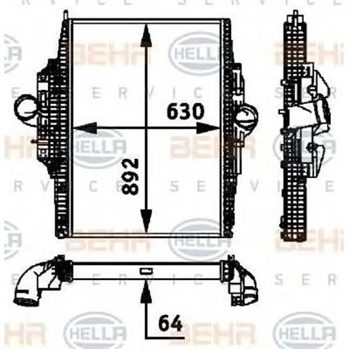 интеркулер для Mercedes-Benz axor om457 02-- BEHR HELLA SERVICE 8ML376724281