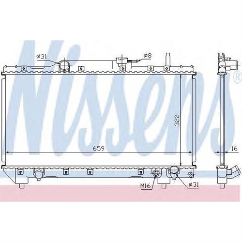 Радиатор системы охлаждения TOYOTA CARINA E (T19) 2.0 GLI (ST191)/2.0 GTI (ST191)/2.0 GTI 16V (ST191)/2.0 I (ST191) 92-97 , CARINA E SPORTSWAGON (T19) 2.0 GLI (ST191)/2.0 I (ST NISSENS 64837A